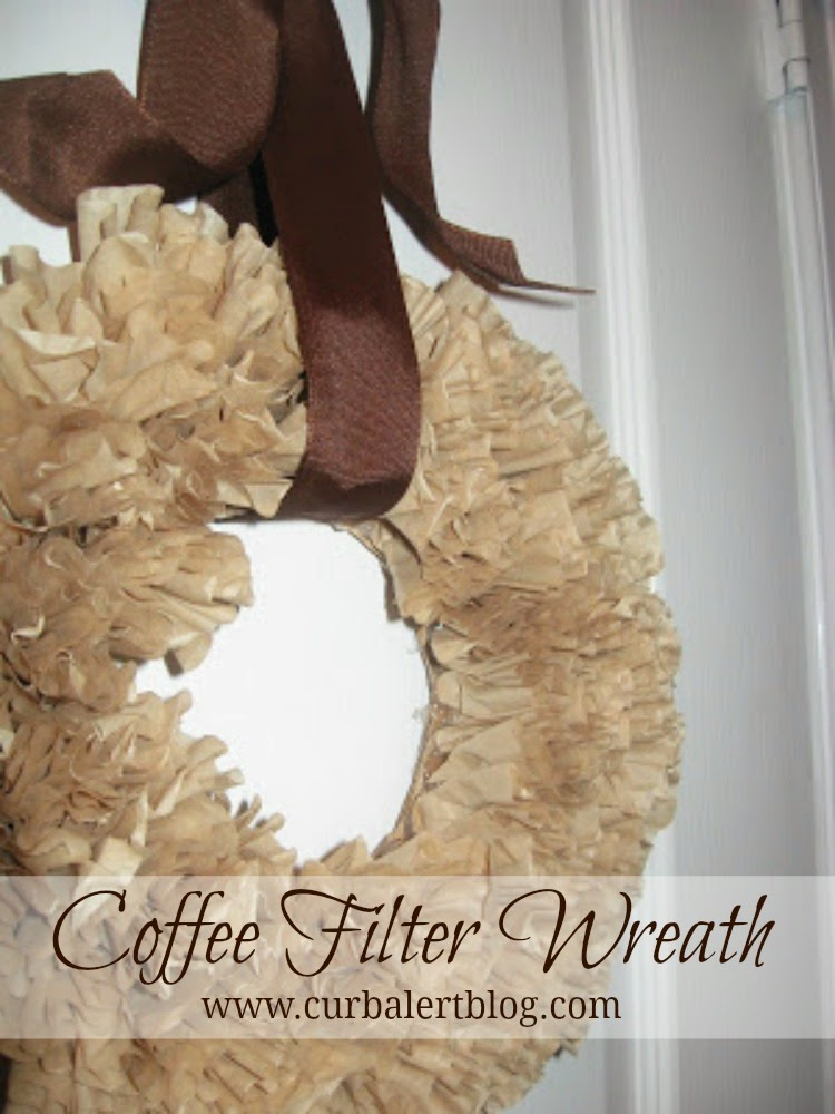 The Famous Tan Coffee Filter Wreath Tutorial via Curb Alert!