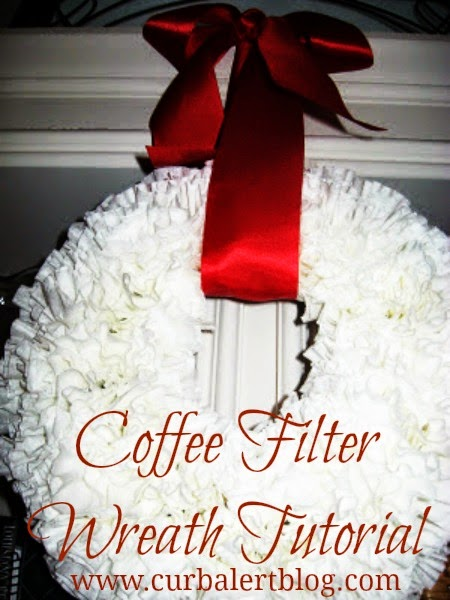 The Famous White Coffee Filter Wreath Tutorial via Curb Alert!