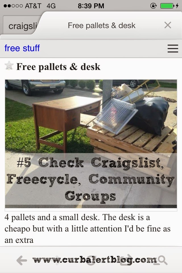 Five Easy Ways to Score Free Pallets by Craigslist Curb Alert! via www.curbalertblog.com