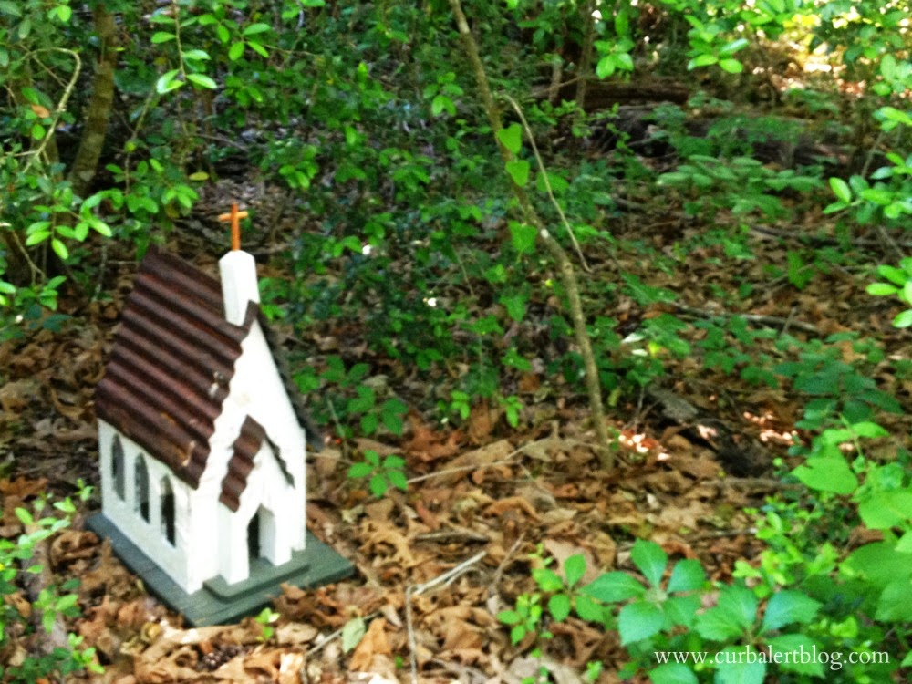 Welcome to Our Woods! Birdhouse Church via Curb Alert! www.curbalertblog.com
