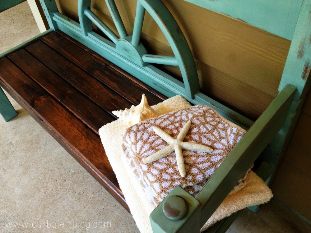 Nautical Beachy Headboard Bench Makeover with Annie Sloan Chalk Paint and Minwax Stain via Curb Alert! https://www.curbalertblog.com