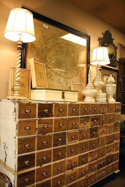 DIY Knockoff Card Catalog in Annie Sloan old White and Minwax English Chestnut via Curb Alert! blog www.curbalertblog.com