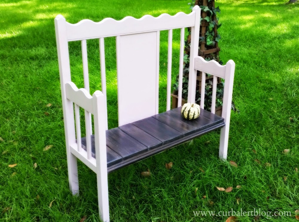 Annie Sloan Antoinette Pink Baby Bed Bench Repurpose via Curb Alert!