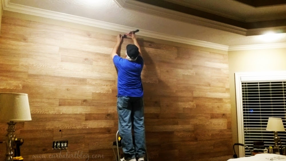 Knockoff White Bedroom Planked Wall Makeover via Curb Alert! Blog